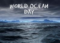 world ocean day ไปรษณียบัตร template