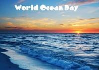 world ocean day Postcard template