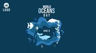 World Oceans day Twitter Post template