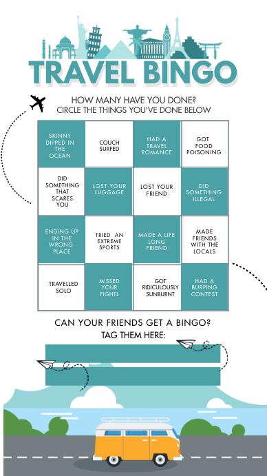 Worldwide Travel Instagram Story Bingo Board template