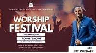 WORSHIP church flyer Digitale display (16:9) template