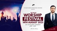 WORSHIP church flyer Tampilan Digital (16:9) template