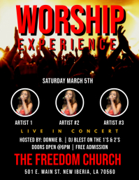 WORSHIP CHURCH GOSPEL CONCERT FLYER
