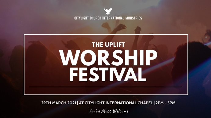 WORSHIP concert flyer Pantalla Digital (16:9) template