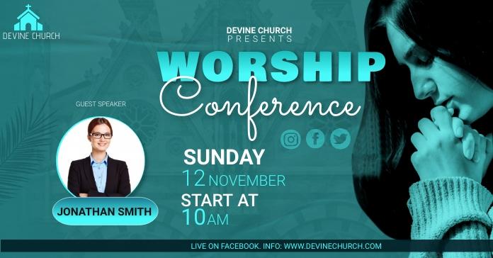 worship conference Рекламное объявление Facebook template