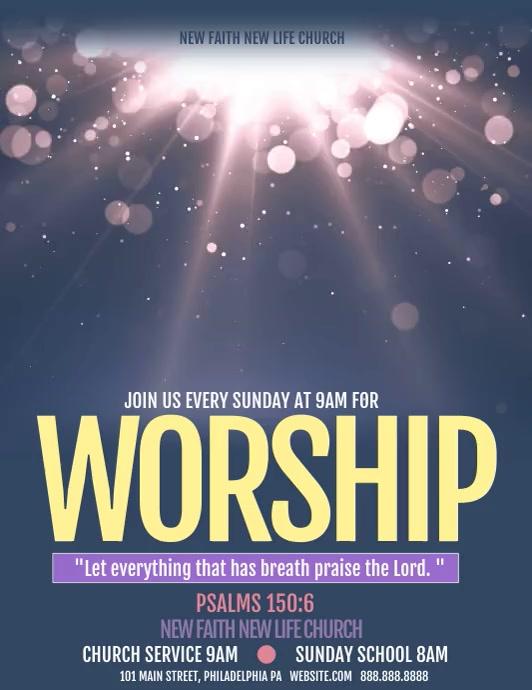 worship ใบปลิว (US Letter) template