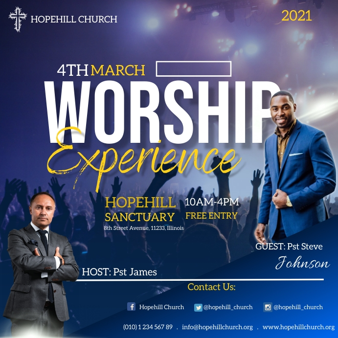 worship experience flyer Instagram Plasing template