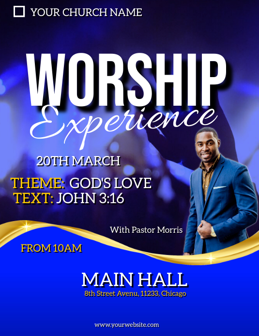 worship experience flyer Pamflet (VSA Brief) template