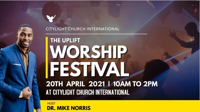 worship festival church flyer Digital Display (16:9) template