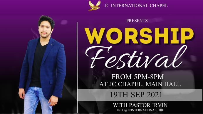 worship festival poster Digital Display (16:9) template