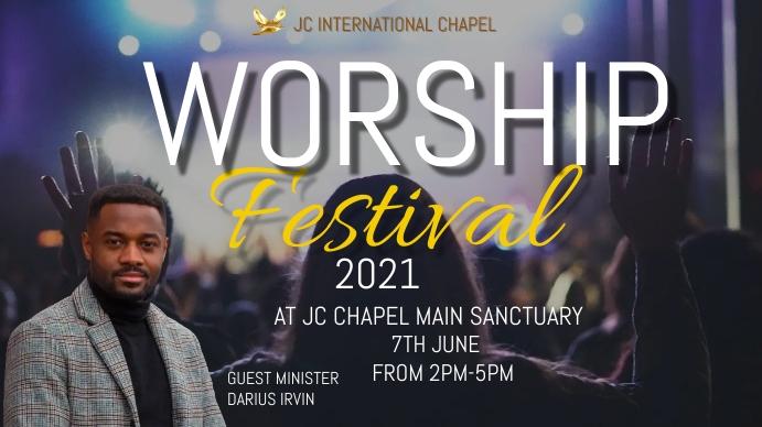 Worship festival poster Digitalt display (16:9) template
