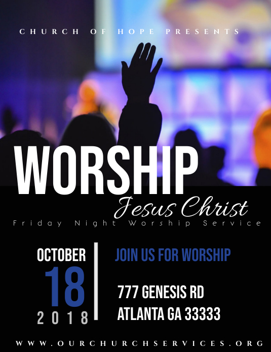Worship Flyer Pamflet (Letter AS) template