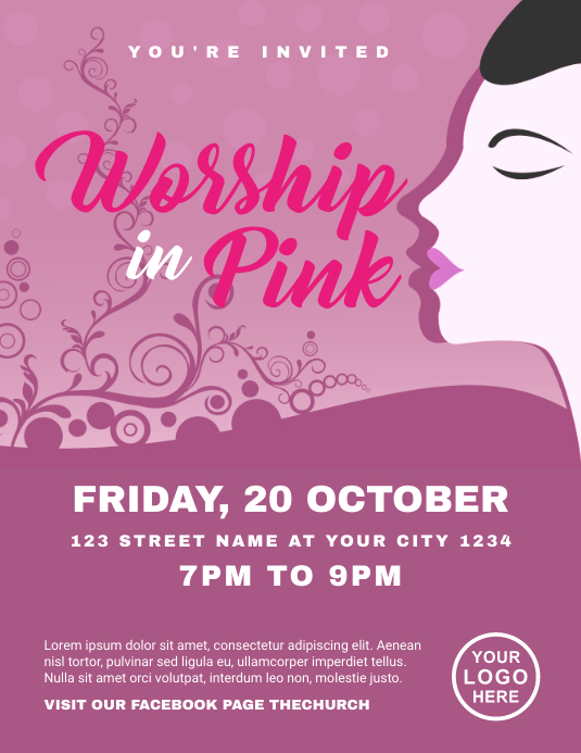 Worship in Pink Church Flyer Template