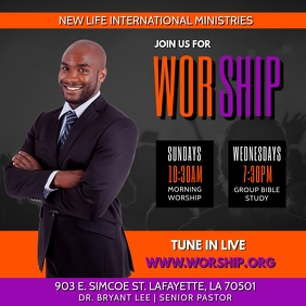 WORSHIP LIVE CHURCH FLYER