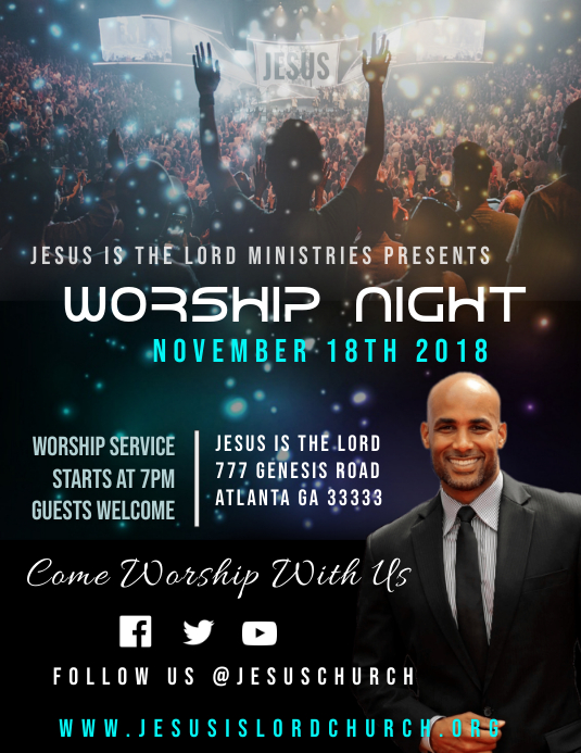Worship Night Event Folheto (US Letter) template