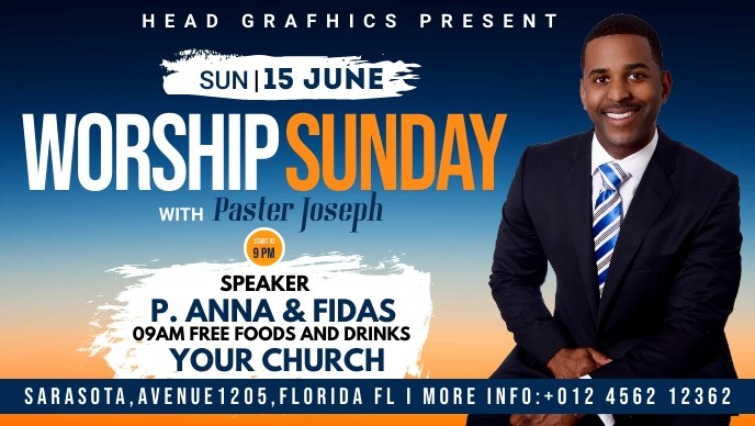 worship sunday flyer template Facebook-omslagvideo (16: 9)