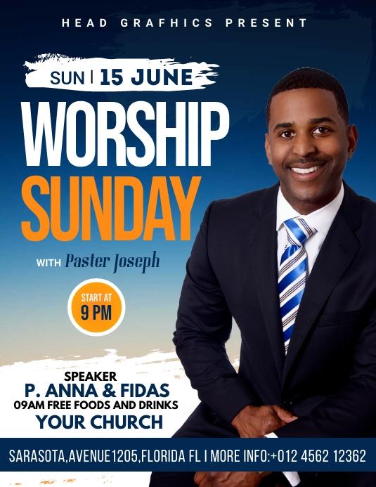 worship sunday flyer template Pamflet (VSA Brief)