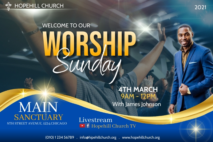 worship sunday service flyer 海报 template