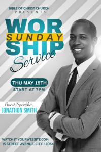 worship Sunday service template Banier 4'×6'
