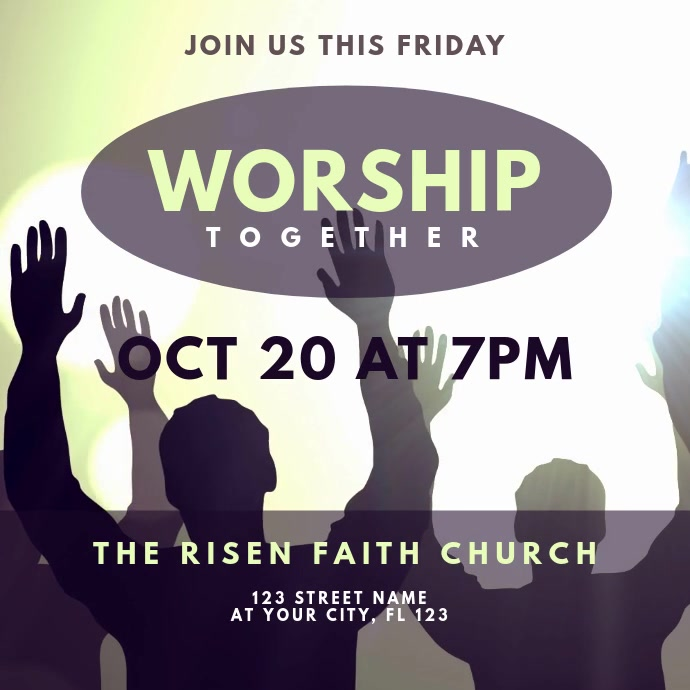 Worship Together Video Invitation Kwadrat (1:1) template