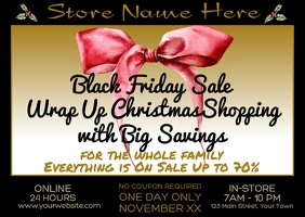 Wrap Up Christmas Shopping Black Friday Sale Postcard template