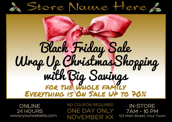 Wrap Up Christmas Shopping Black Friday Sale Kartu Pos template