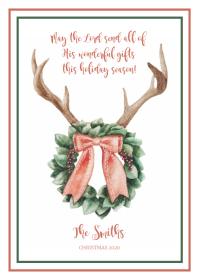 Wreath & Antler Christmas Card A6 template