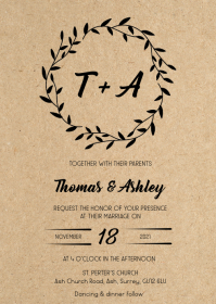 Wreath Rustic kraft wedding invitation