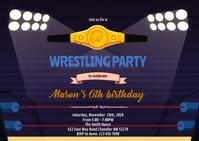 Wrestling birthday theme invitation A6 template