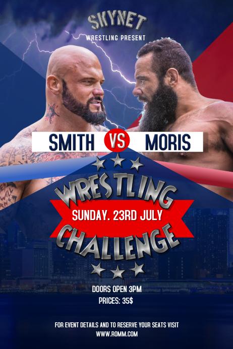 Wrestling Challenge Blue Poster Cartaz template