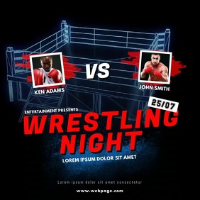 Wrestling Fight Night Video Instagram design Isikwele (1:1) template