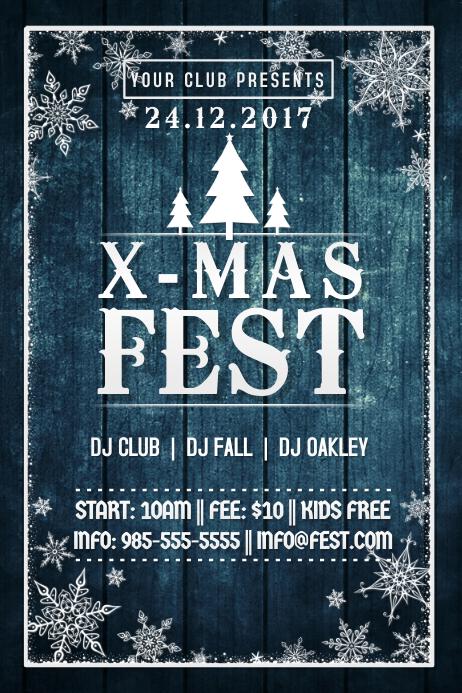 X-Mas Christmas Blue Wood Tree Fest Winter Snow Flakes
