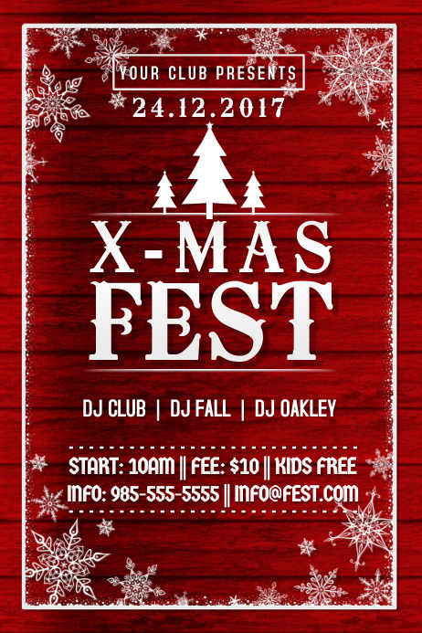 X-Mas Christmas Red Santa Wood Tree Fest Winter Snow Flakes