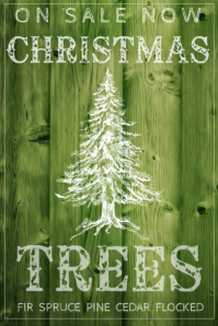 X-Mas Tree Pine Spruce Fir Cedar Sale Retail Green Sign Ad