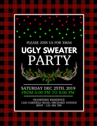 xmas,ugly sweater party, christmas flyer