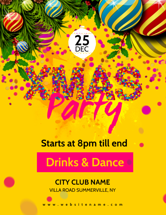 Xmas Party Flyer Pamflet (Letter AS) template