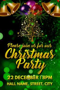 Xmas party invite Poster template