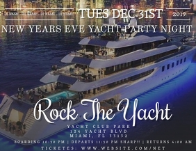 Yacht Party Night NYE Flyer Template