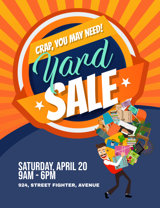 Yard Garage Sale Flyer Poster Volante (Carta US) template