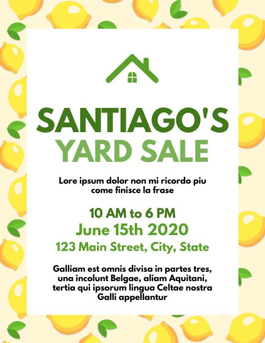 Yard Garage sales flyer template design Løbeseddel (US Letter)