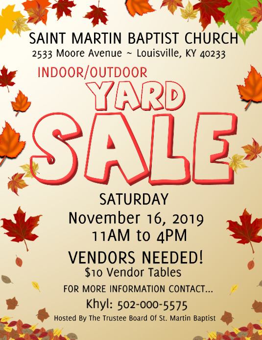 indoor outdooor fall Yard Sale Folheto (US Letter) template