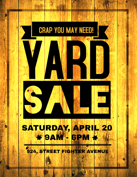 copy of yard sale retail poster flyer