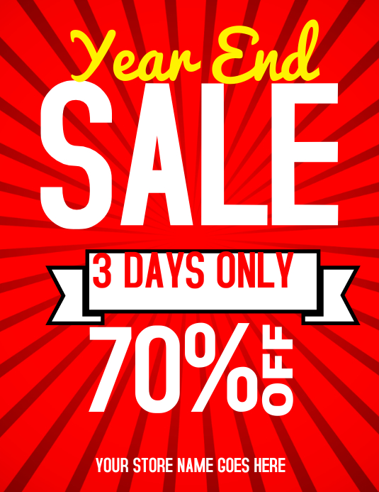 year end sale flyer template postermywall