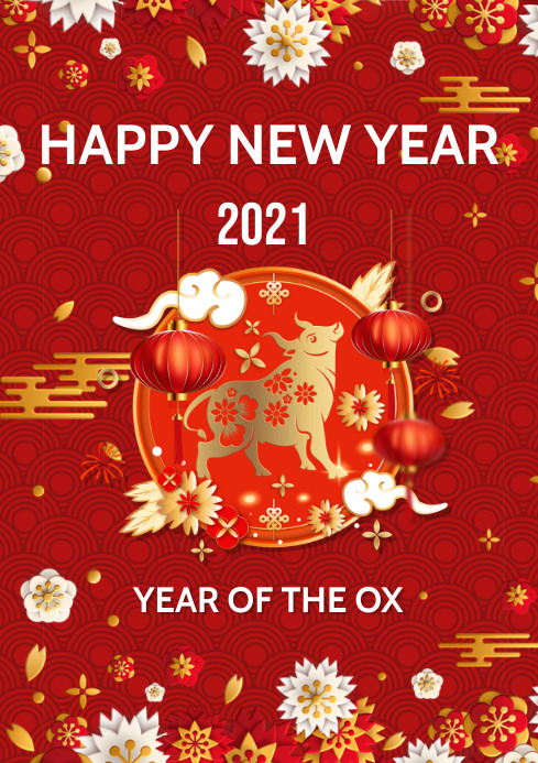 year of the ox flyers A3 template
