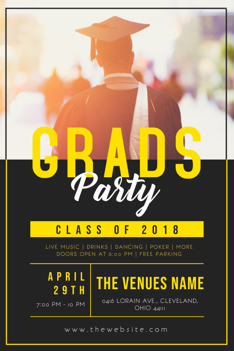 Yellow & Black Graduation Party Poster Template
