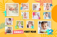 Yellow 1st year of life poster template