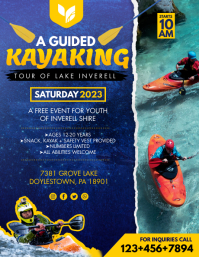 Yellow Adventure Kayaking Classes Flyer Template Folheto (US Letter)