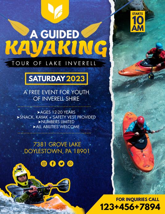 Yellow Adventure Kayaking Classes Flyer Template