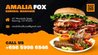 Yellow and Black Restaurant Busines Card Desi template