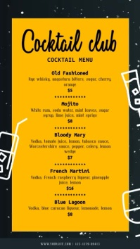 Yellow and Black Retro Cocktail Menu Digital Display template
